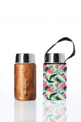 Lunch Container Foodie & Carry Cover | Woodgrain & Flamingo