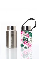 Lunchpaket Foodie & Carry Cover | Silber & Hibiskus