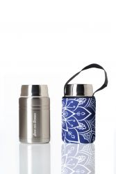 Lunch Container Foodie & Carry Cover | Silver & Mandala