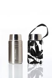 Lunch Container Foodie & Carry Cover | Silver & Tall Leaf