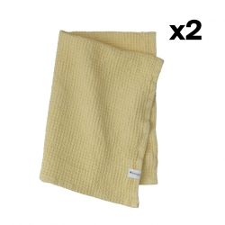 Set of 2 Towel Waffly 50 x 70 cm | Lemon
