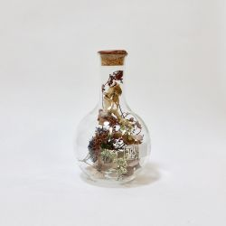 Round Belly Flask with Dried Flowers Large | Sperare Brass