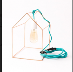 Table Lamp Home | Gold + Blue Cable