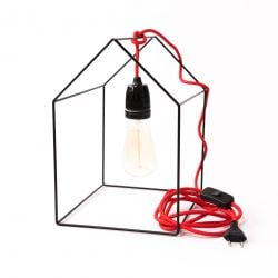 Table Lamp Home | Black + Red Cable