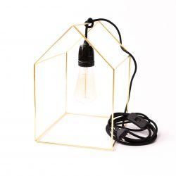 Tafellamp Huisje | Goud + Zwarte Kabel