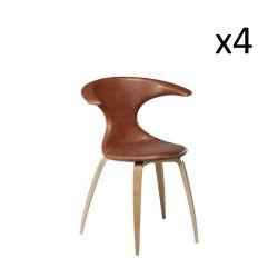 Chaise Flair | Cuir marron clair et pieds en placage de chêne | Lot de 4