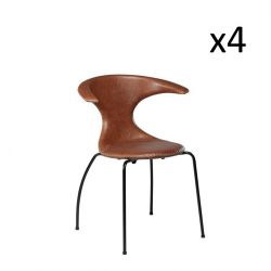 Stuhl Flair | Hellbraunes Leder & schwarze Beine | 4er-Set