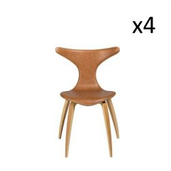 Set of 4 Chairs Dolphin | Light Brown Leather & Oak Veneer Legs