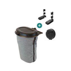 Flextrash Mülleimer 3 L + 2 Sitzklemmen + Vacuclip | Grau