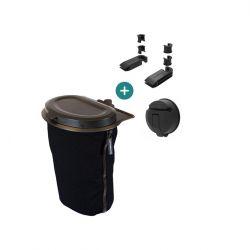 Flextrash Mülleimer 3 L + 2 Sitzklemmen + Vacuclip | Schwarz