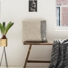 Native Knit Cushion | Anthracite Mix White