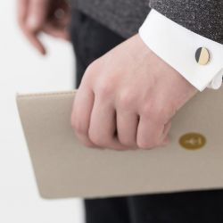 Circle Cufflinks | Brass & Black