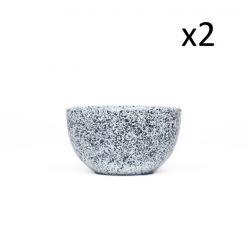 2er Set Becher Mess A 200 ML Dia. 10 | Weiß mit blauen Punkten