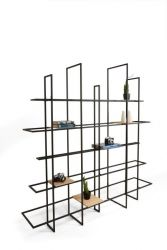 FRAMES Rack/Room Divider | Black, Wood Shelves