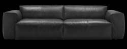 3 Seater Sofa Fresno Nature Leather 0723 | Jade Black