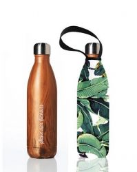 Gourde Future Bottle 750 ml + Housse | Bois & Feuille de Banane