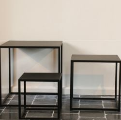 Set of 3 Coffee Tables | 45 x 45 cm | Black