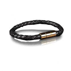 Leather Bracelet 6 mm Gold   Black