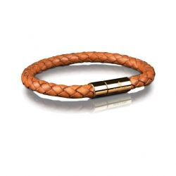 Leather Bracelet 6 mm Gold | Brown