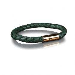 Leather Bracelet 6 mm Gold | Dark Green