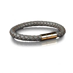 Leather Bracelet 6 mm Gold | Grey