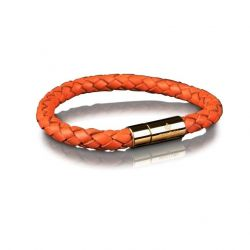 Leather Bracelet 6 mm Gold | Orange