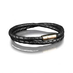 Leather Bracelet 4 mm Gold | Black