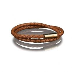 Leather Bracelet 4 mm Gold | Brown