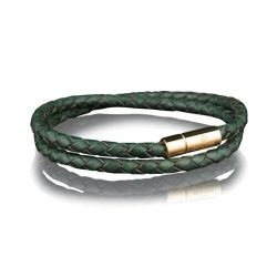 Leather Bracelet 4 mm Gold | Dark Green