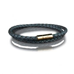 Leather Bracelet 4 mm Gold | Grey