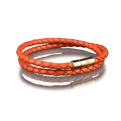 Leather Bracelet 4 mm Gold | Orange