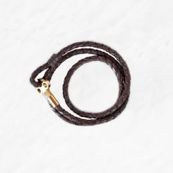 Key Leather Bracelet   Dark Brown