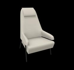Armchair Gap Metal Legs / High Back | Beige