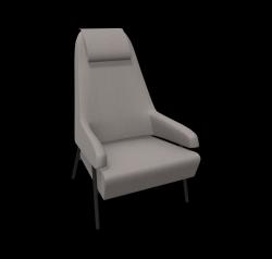 Armchair Gap Metal Legs / High Back | Grey