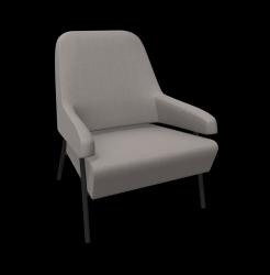 Armchair Gap Metal Legs / Low Back | Grey
