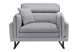 1-Seater Sofa Gigi | Light Grey & Black / Black Legs