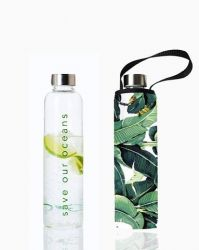 Trinkflasche Glass Is Greener + Tragehülle | Banana Leaf Print