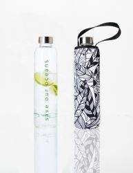 Trinkflasche Glass Is Greener + Tragehülle | Feather Print