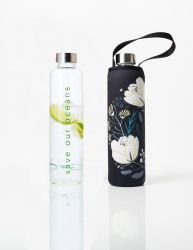Trinkflasche Glass Is Greener + Tragehülle | Orient Print