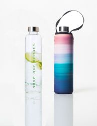 Trinkflasche Glass Is Greener + Tragehülle | Peace Print