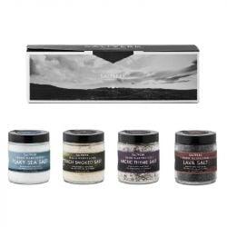 Giftbox 4 Stuks | Zeezoutvlokken, Lavazout, Op Berk Gerookt Zeezout & Zeezout met Wilde Tijm