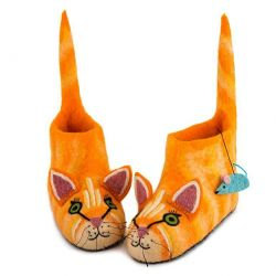 Adult Slippers Ginger Cat | Orange