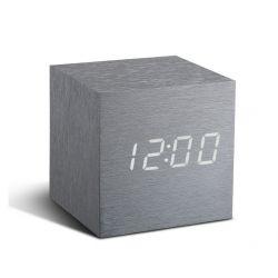 Würfel-Klick-Uhr | Aluminium / Weiß