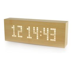 Nachrichten-Klick-Uhr | Buchen-/Weiss-LED
