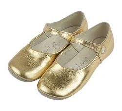 Gold Leather Party Shoe/Slipper