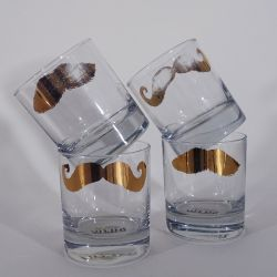 Disappearing Golden Moustache Tumblers | Set of 4