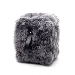 Square Sheepskin Pouf | Grey