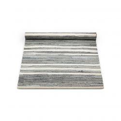 Baumwollteppich | Grau/Offwhite gestreift