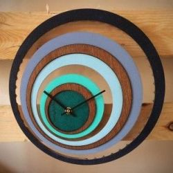 Grande Illusion Clock | Wood/Blue
