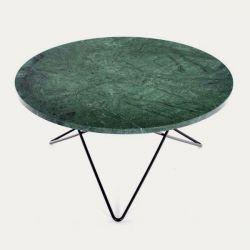 Großer O-Tisch | Grüner Indio/Schwarzstahl